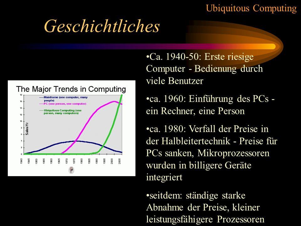 Geschichtliches Ca. 1940-50: Erste riesige Computer - Bedienung durch viele Benutzer. ca. 1960: Einführung des PCs - ein Rechner, eine Person.