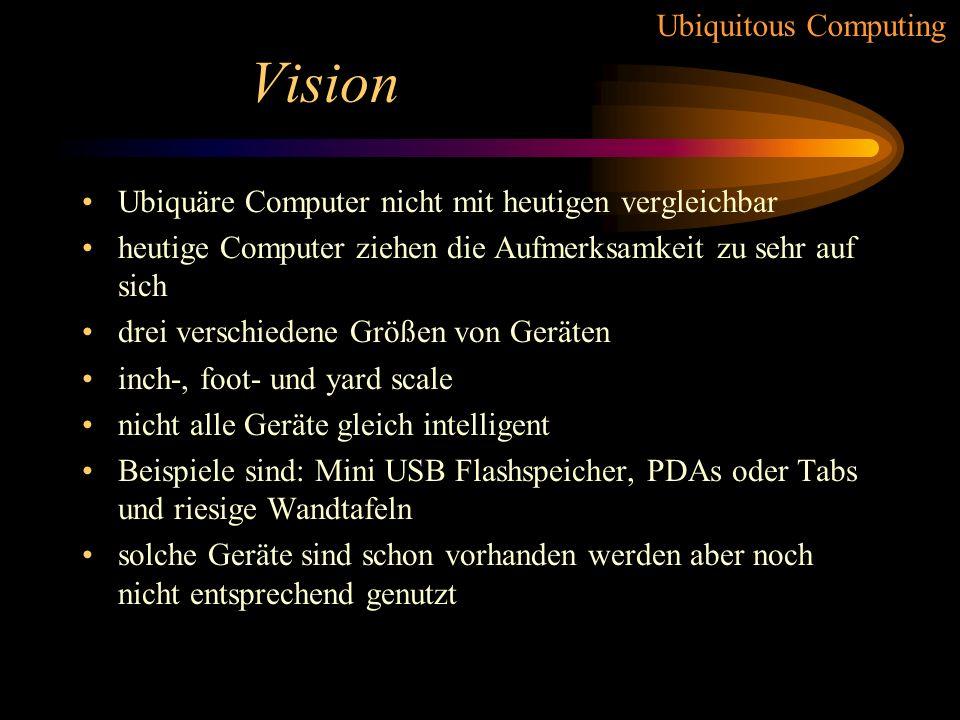 Vision Ubiquäre Computer nicht mit heutigen vergleichbar
