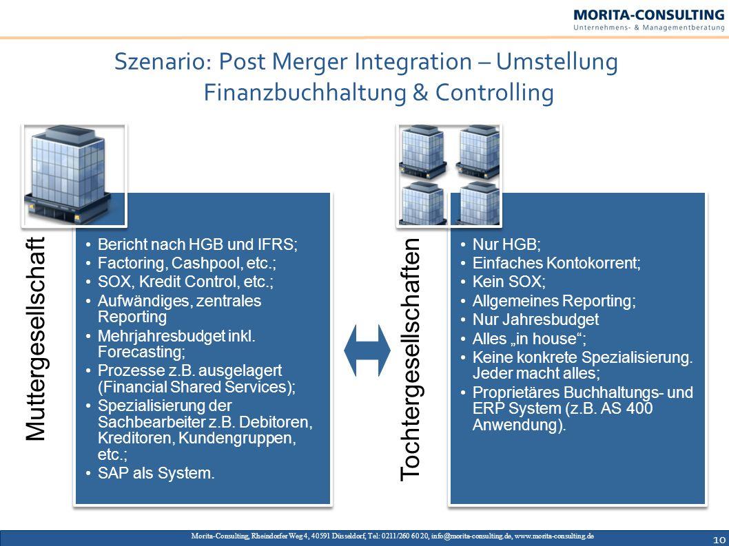 Szenario: Post Merger Integration – Umstellung Finanzbuchhaltung & Controlling