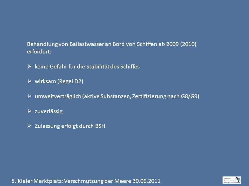 Behandlung von Ballastwasser an Bord von Schiffen ab 2009 (2010) erfordert: