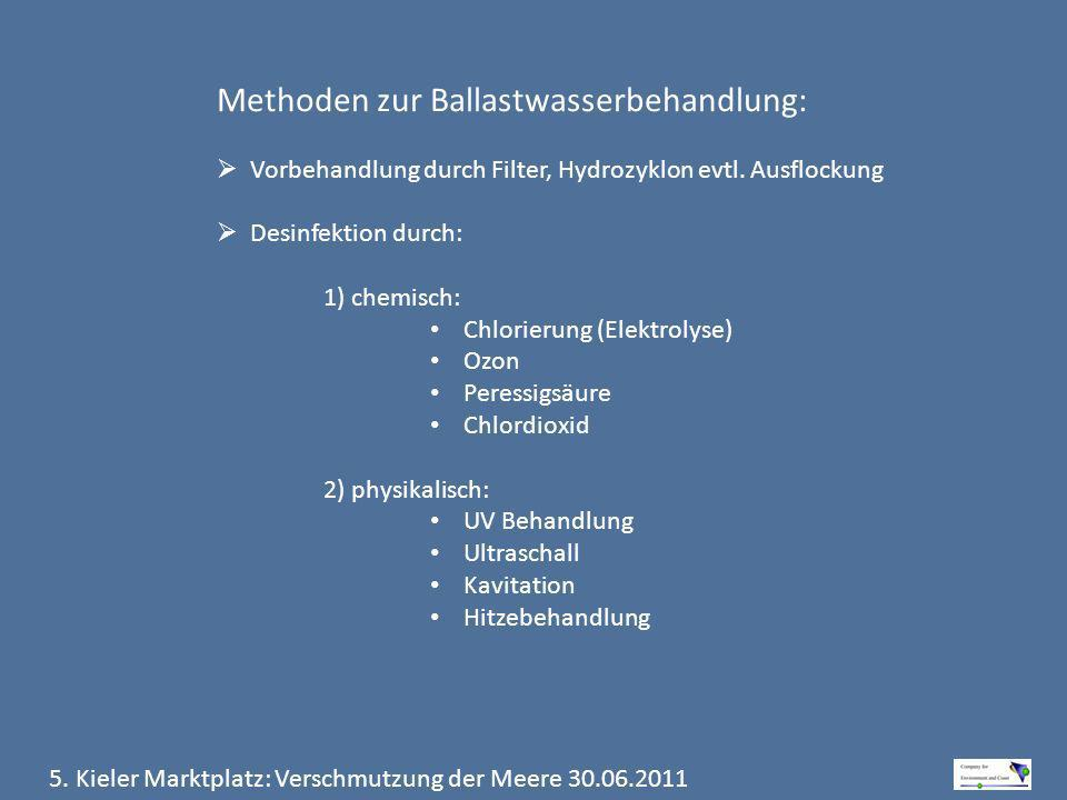 Methoden zur Ballastwasserbehandlung: