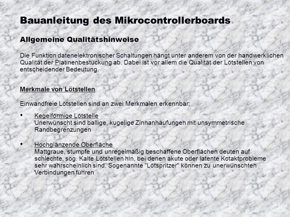 Bauanleitung des Mikrocontrollerboards