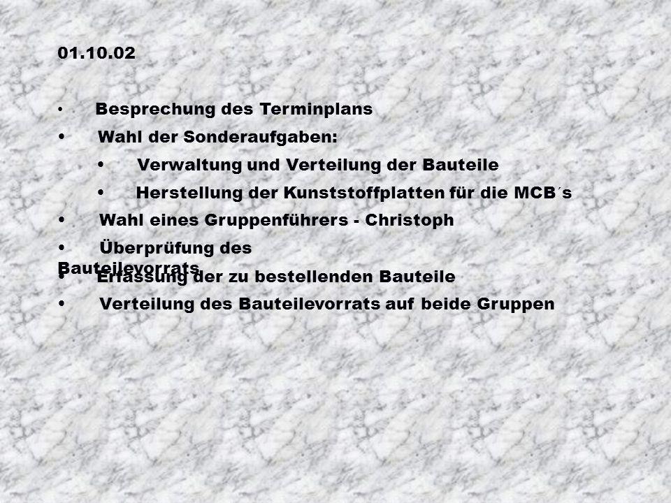 01.10.02 Besprechung des Terminplans. Wahl der Sonderaufgaben: Verwaltung und Verteilung der Bauteile.
