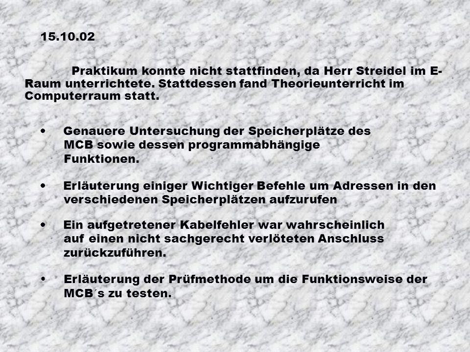 15.10.02Praktikum konnte nicht stattfinden, da Herr Streidel im E-Raum unterrichtete. Stattdessen fand Theorieunterricht im Computerraum statt.