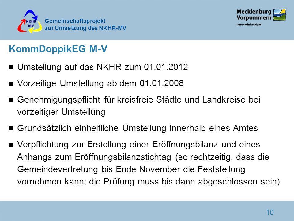 KommDoppikEG M-V Umstellung auf das NKHR zum 01.01.2012