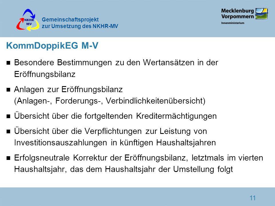 KommDoppikEG M-V Besondere Bestimmungen zu den Wertansätzen in der Eröffnungsbilanz.