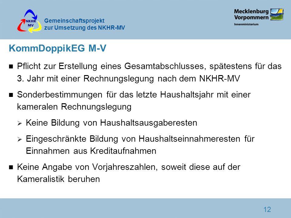 KommDoppikEG M-V Pflicht zur Erstellung eines Gesamtabschlusses, spätestens für das 3. Jahr mit einer Rechnungslegung nach dem NKHR-MV.