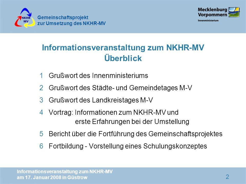 Informationsveranstaltung zum NKHR-MV Überblick