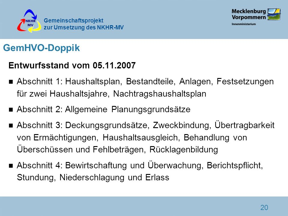 GemHVO-Doppik Entwurfsstand vom 05.11.2007