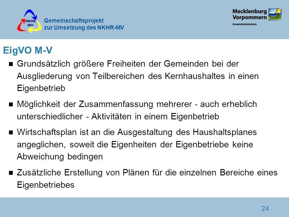 EigVO M-V Grundsätzlich größere Freiheiten der Gemeinden bei der Ausgliederung von Teilbereichen des Kernhaushaltes in einen Eigenbetrieb.