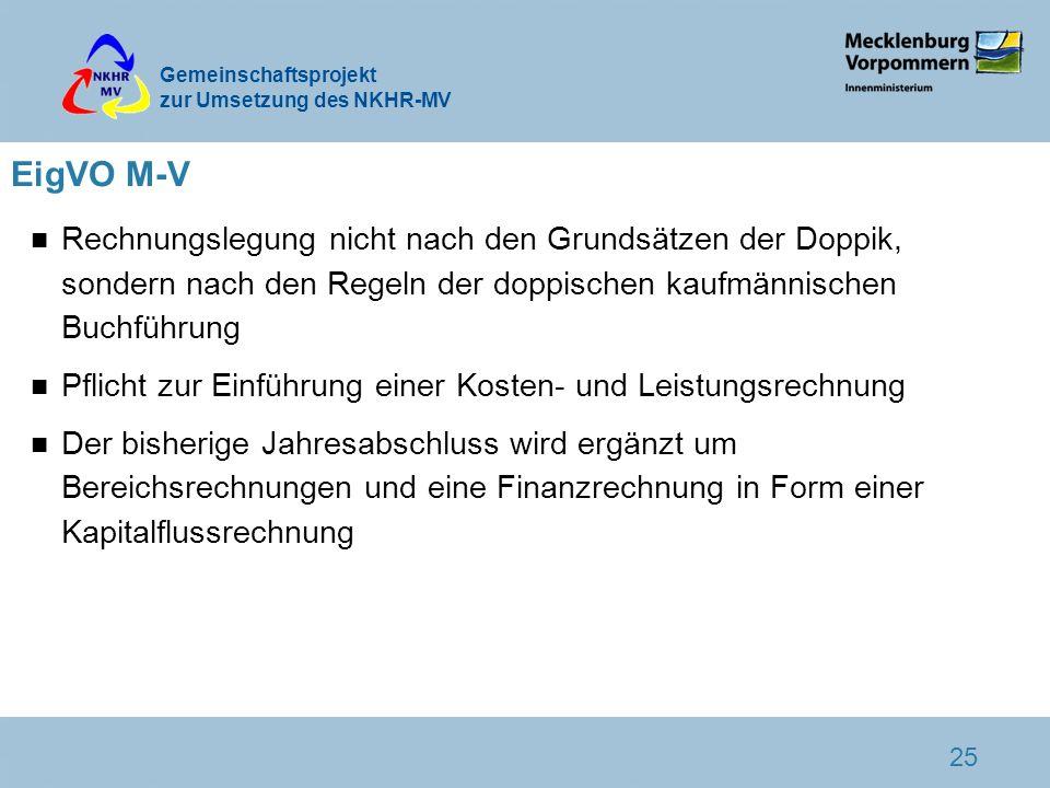 EigVO M-V Rechnungslegung nicht nach den Grundsätzen der Doppik, sondern nach den Regeln der doppischen kaufmännischen Buchführung.