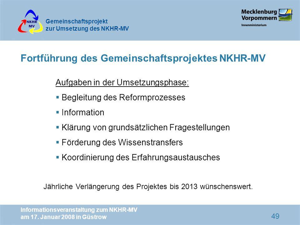 Fortführung des Gemeinschaftsprojektes NKHR-MV