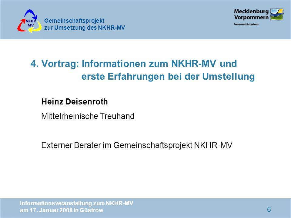 4. Vortrag: Informationen zum NKHR-MV und erste Erfahrungen bei der Umstellung