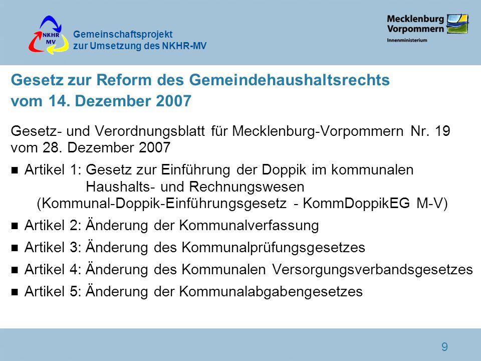 Gesetz zur Reform des Gemeindehaushaltsrechts vom 14. Dezember 2007