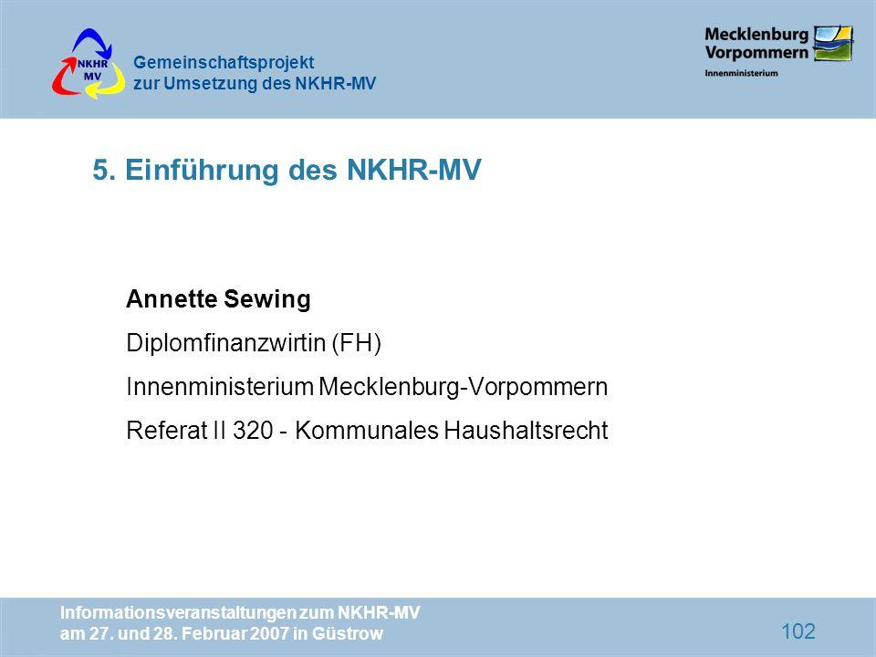 5. Einführung des NKHR-MV