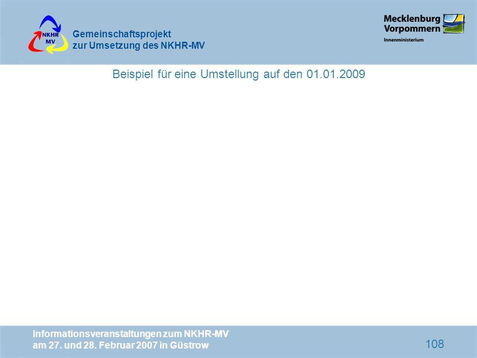 Beispiel für eine Umstellung auf den 01.01.2009