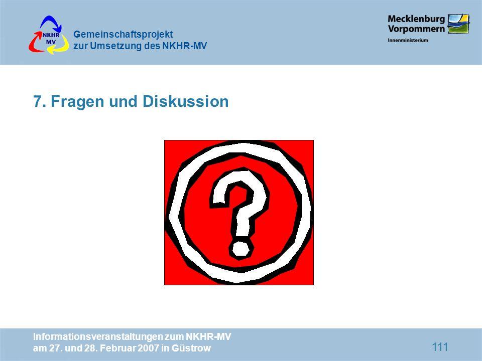 7.Fragen und DiskussionInformationsveranstaltungen zum NKHR-MV am 27.