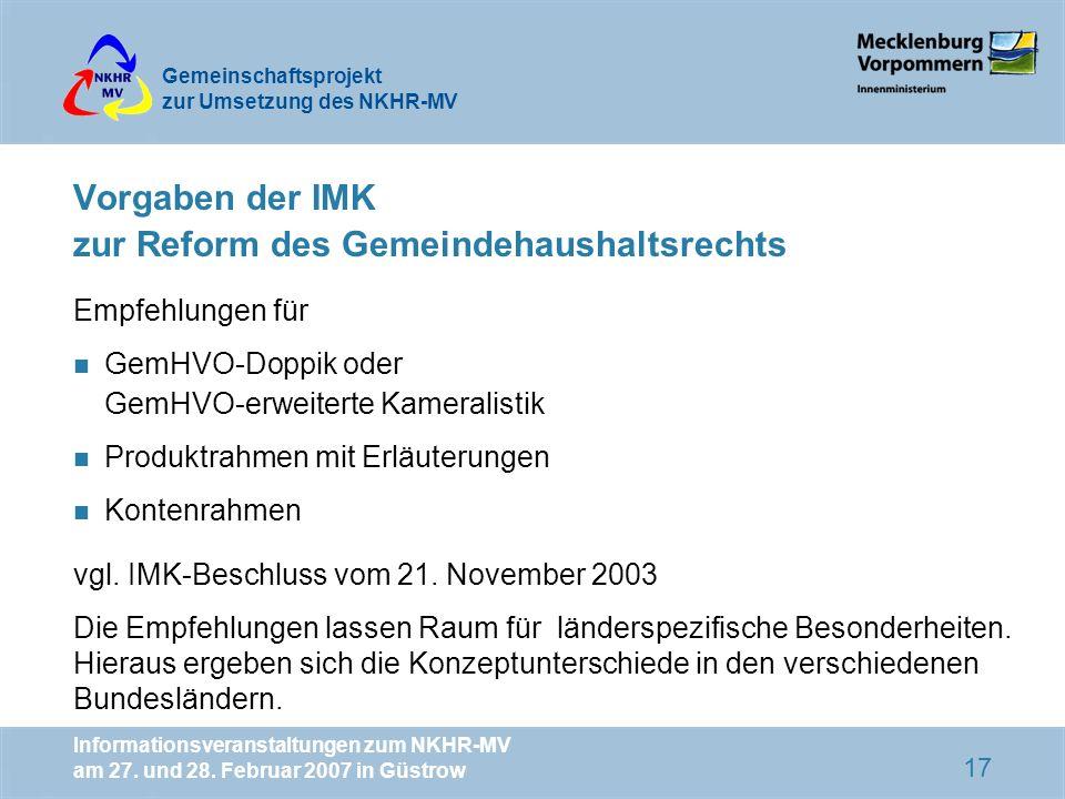 Vorgaben der IMK zur Reform des Gemeindehaushaltsrechts
