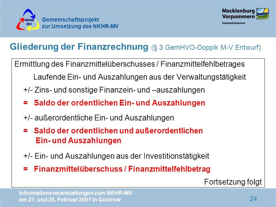 Gliederung der Finanzrechnung (§ 3 GemHVO-Doppik M-V Entwurf)