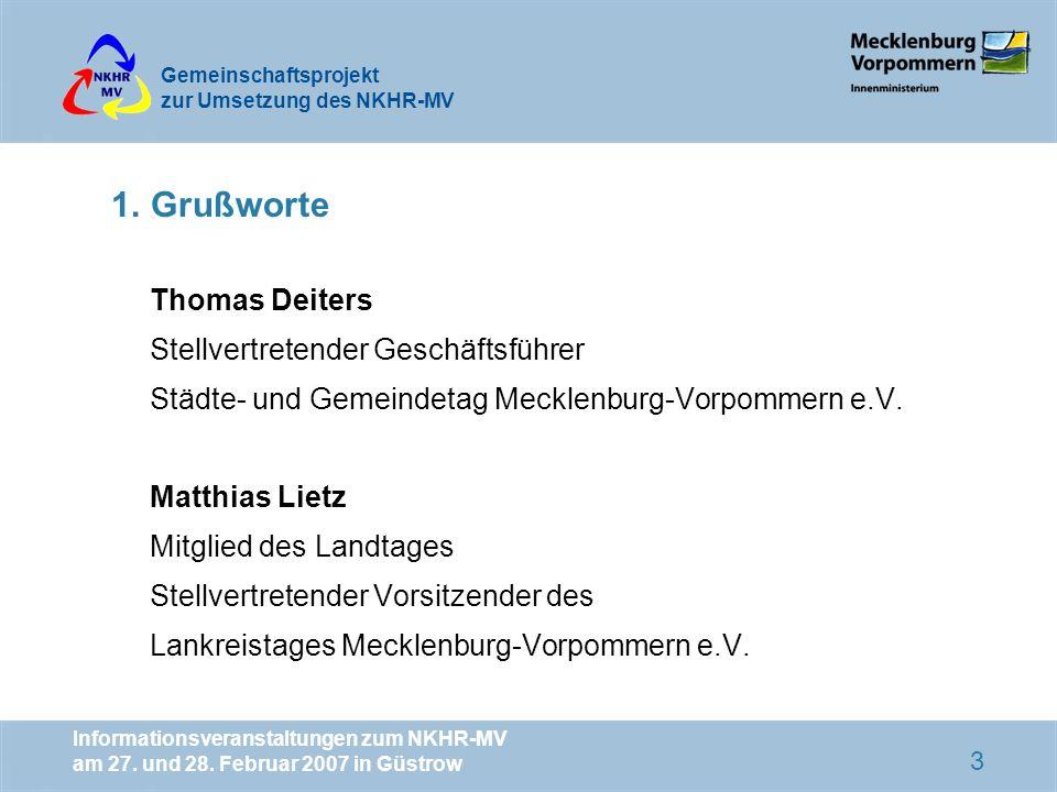 1. Grußworte Thomas Deiters Stellvertretender Geschäftsführer