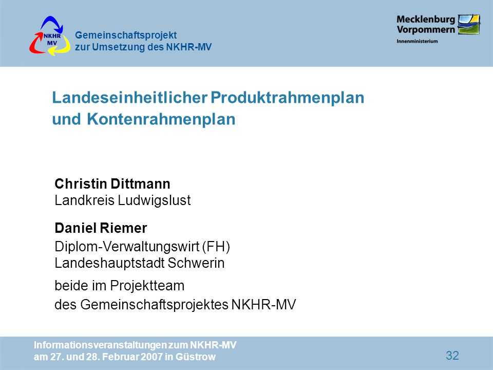 Landeseinheitlicher Produktrahmenplan und Kontenrahmenplan