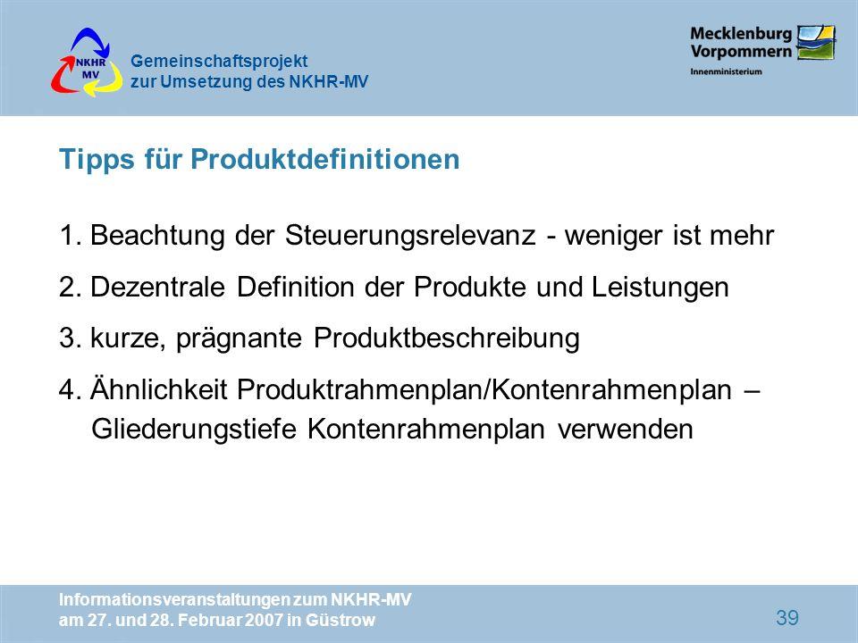 Tipps für Produktdefinitionen