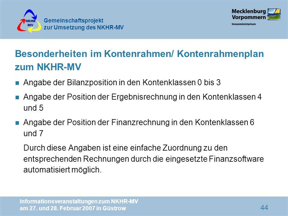 Besonderheiten im Kontenrahmen/ Kontenrahmenplan zum NKHR-MV