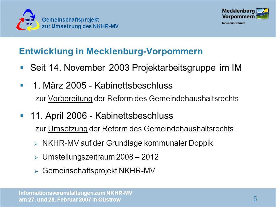 Entwicklung in Mecklenburg-Vorpommern