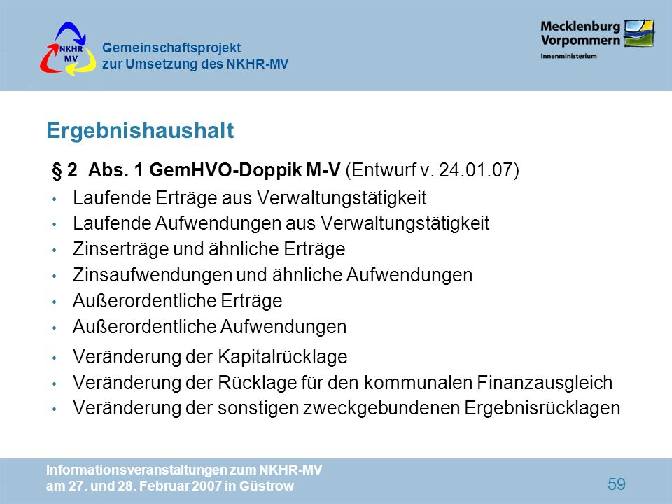 Ergebnishaushalt § 2 Abs. 1 GemHVO-Doppik M-V (Entwurf v. 24.01.07)