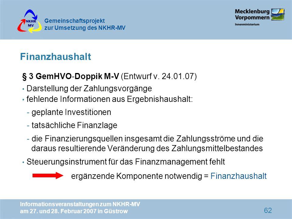 Finanzhaushalt § 3 GemHVO-Doppik M-V (Entwurf v. 24.01.07)