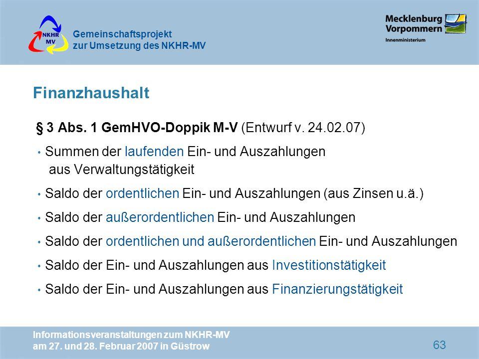 Finanzhaushalt § 3 Abs. 1 GemHVO-Doppik M-V (Entwurf v. 24.02.07)