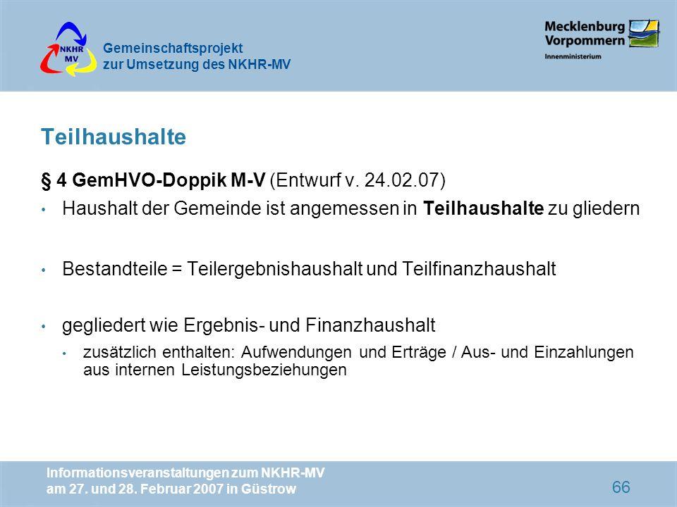 Teilhaushalte § 4 GemHVO-Doppik M-V (Entwurf v. 24.02.07)