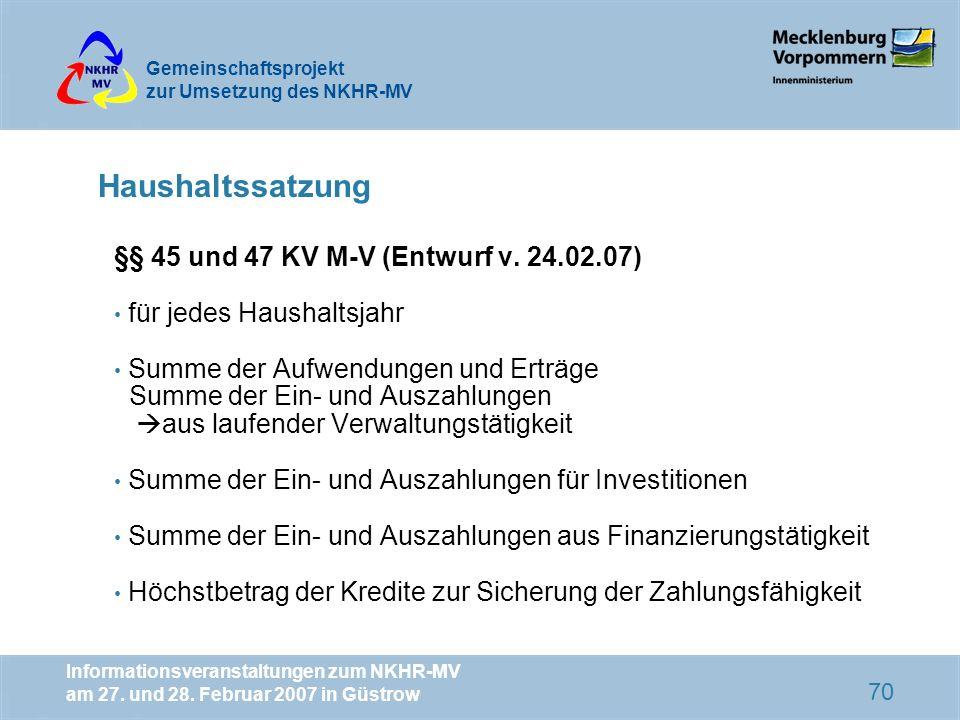 Haushaltssatzung §§ 45 und 47 KV M-V (Entwurf v. 24.02.07)