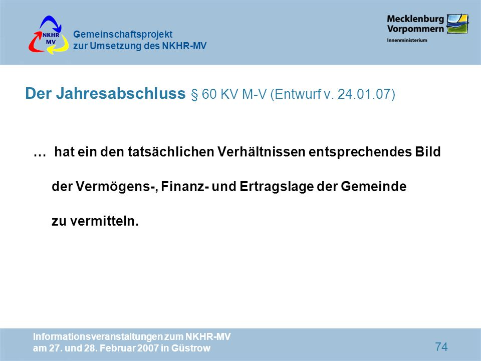 Der Jahresabschluss § 60 KV M-V (Entwurf v. 24.01.07)