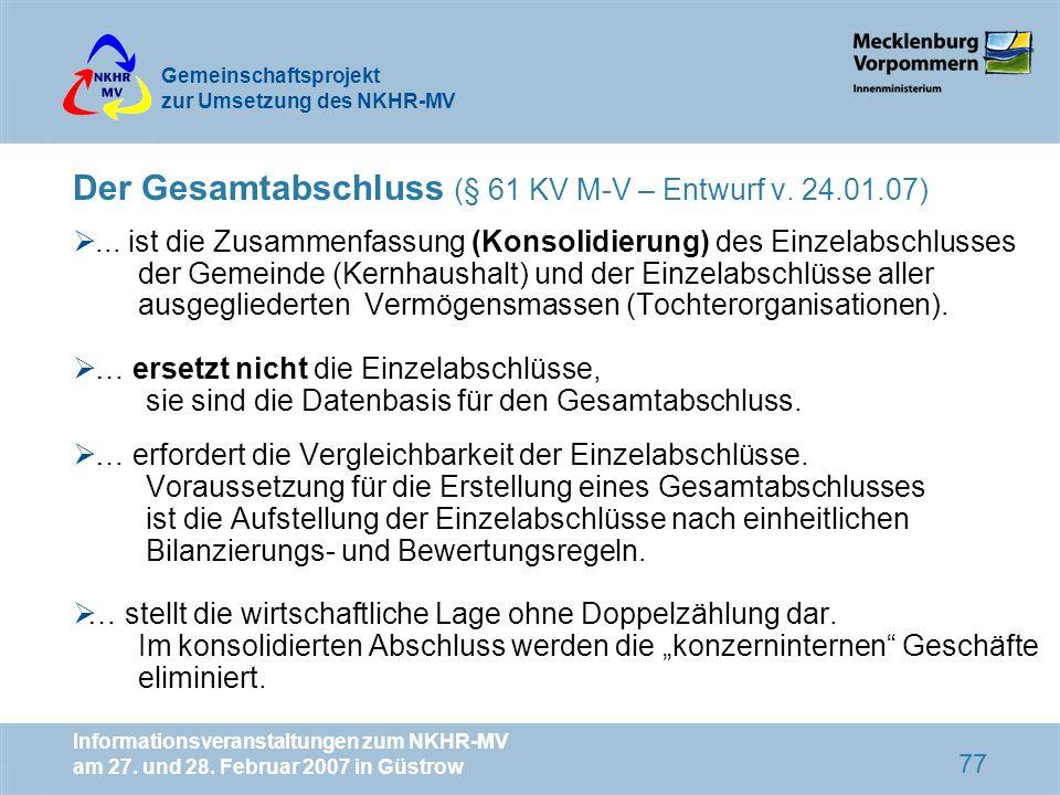 Der Gesamtabschluss (§ 61 KV M-V – Entwurf v. 24.01.07)