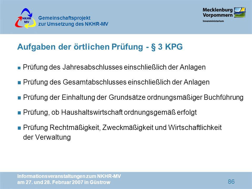 Aufgaben der örtlichen Prüfung - § 3 KPG
