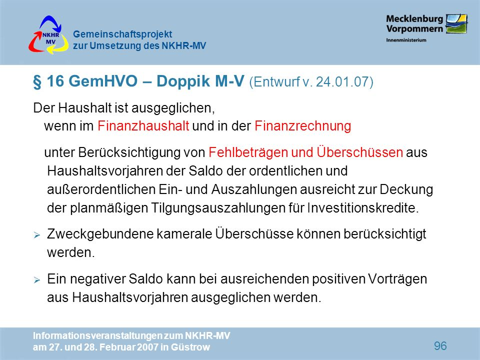 § 16 GemHVO – Doppik M-V (Entwurf v. 24.01.07)