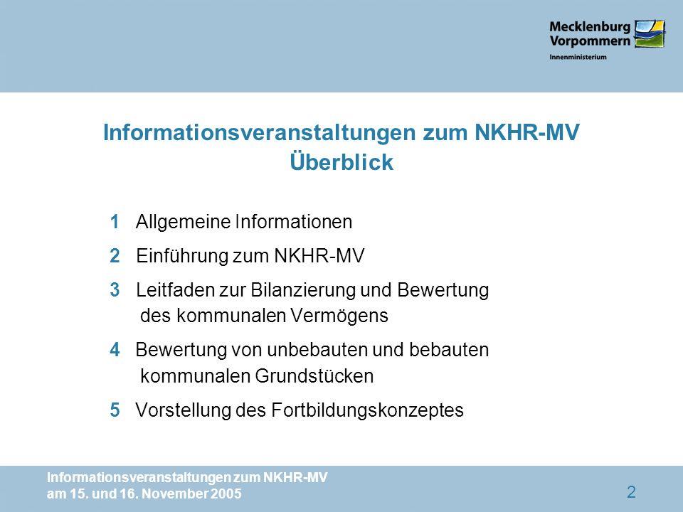 Informationsveranstaltungen zum NKHR-MV Überblick