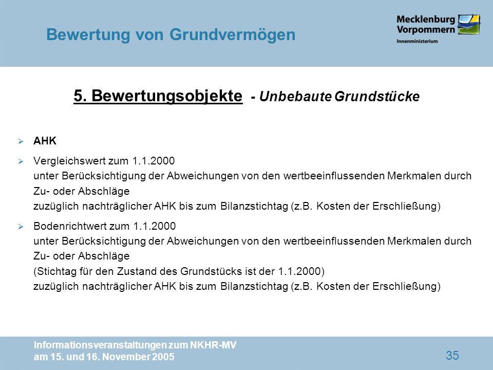 5. Bewertungsobjekte - Unbebaute Grundstücke