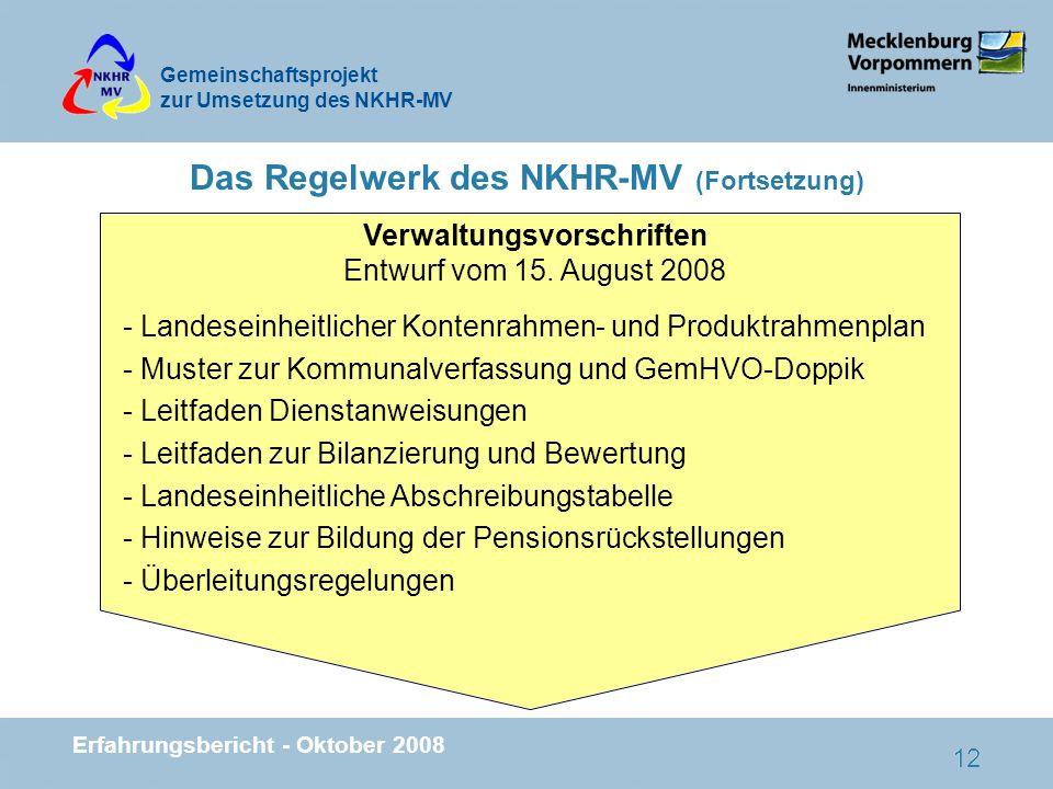 Das Regelwerk des NKHR-MV (Fortsetzung)