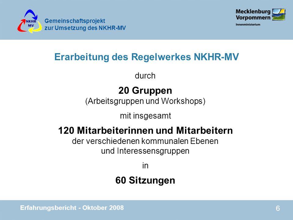 Erarbeitung des Regelwerkes NKHR-MV