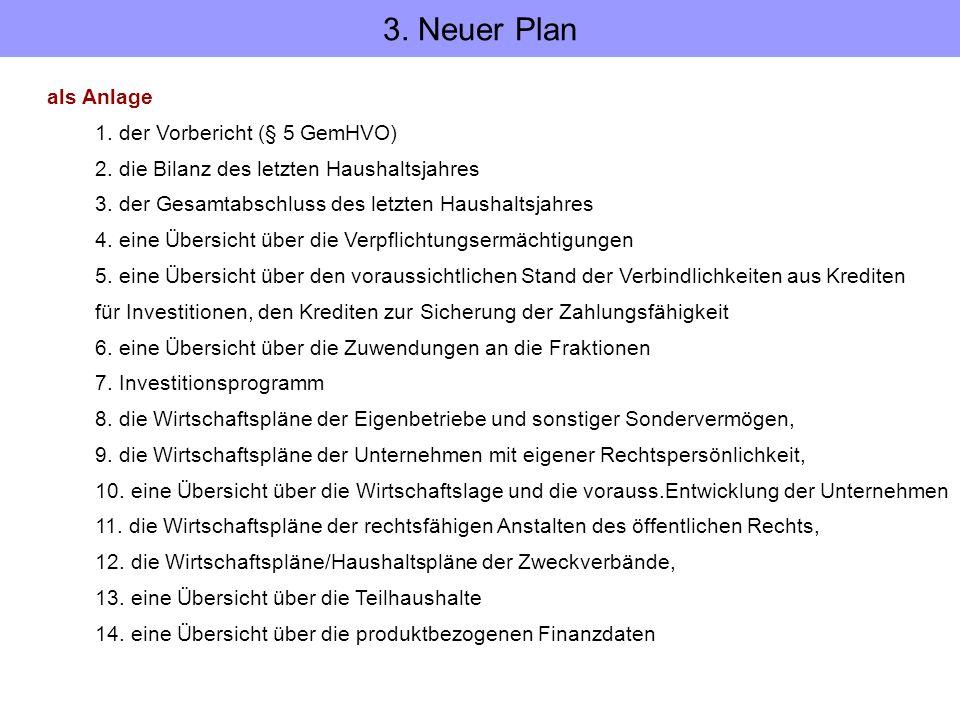 3. Neuer Plan als Anlage 1. der Vorbericht (§ 5 GemHVO)