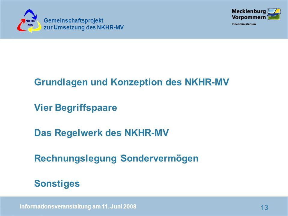 Grundlagen und Konzeption des NKHR-MV Vier Begriffspaare Das Regelwerk des NKHR-MV Rechnungslegung Sondervermögen Sonstiges
