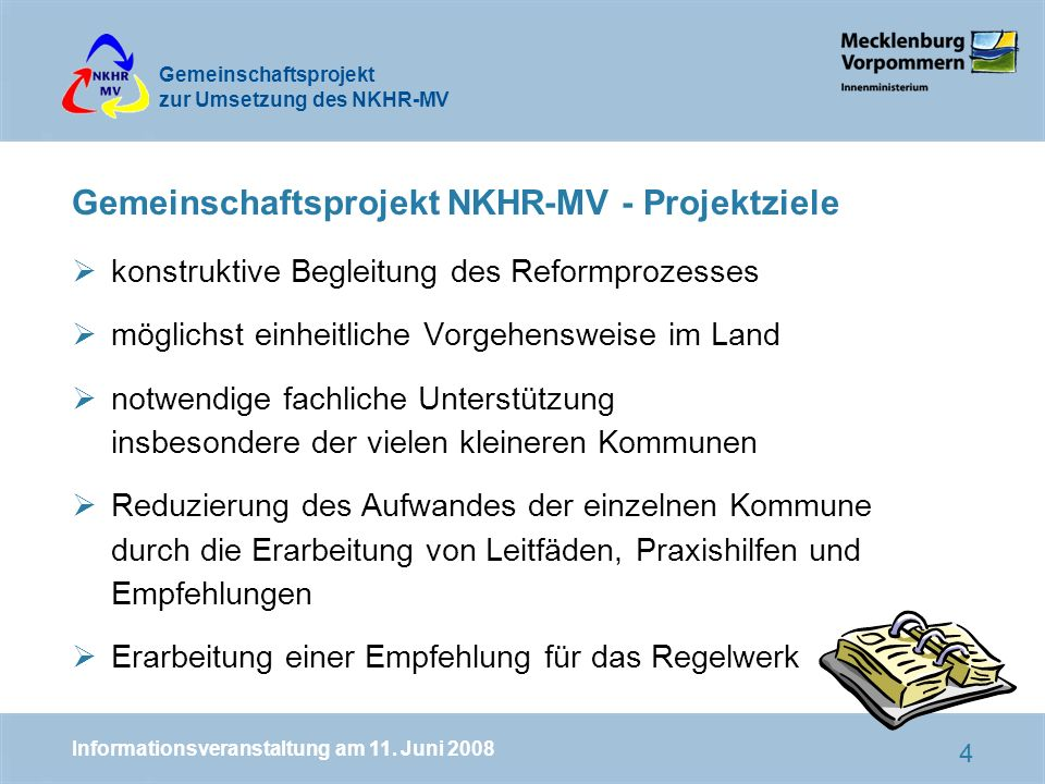 Gemeinschaftsprojekt NKHR-MV - Projektziele
