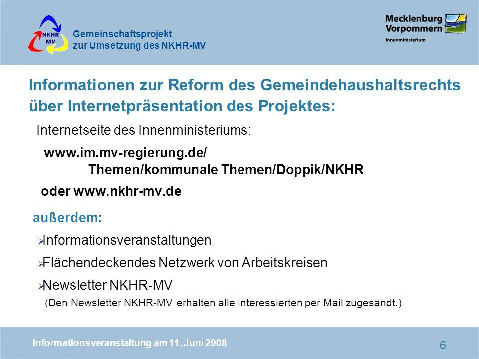 Informationen zur Reform des Gemeindehaushaltsrechts über Internetpräsentation des Projektes: