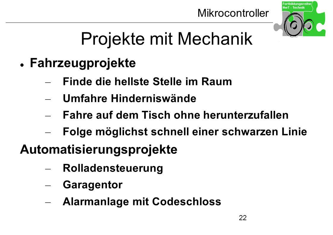 Projekte mit Mechanik Fahrzeugprojekte Automatisierungsprojekte