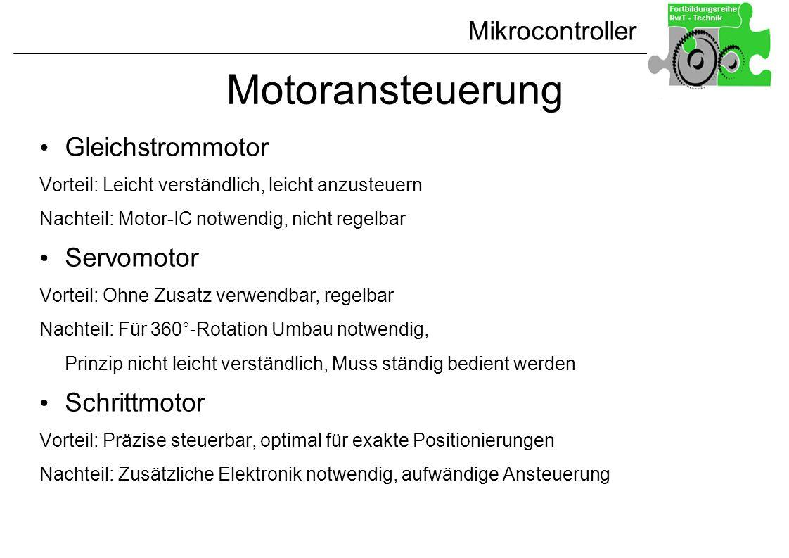 Motoransteuerung Gleichstrommotor Servomotor Schrittmotor