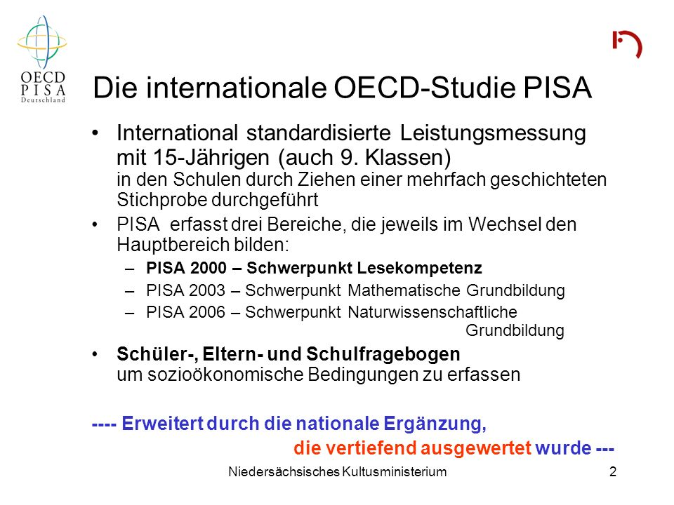 Die internationale OECD-Studie PISA