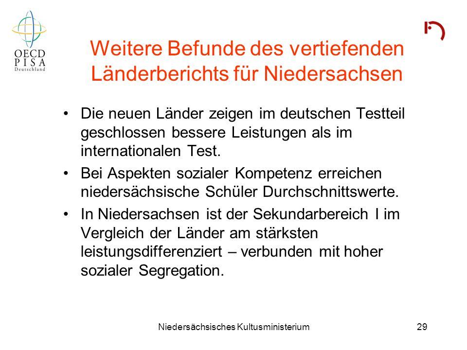 Weitere Befunde des vertiefenden Länderberichts für Niedersachsen