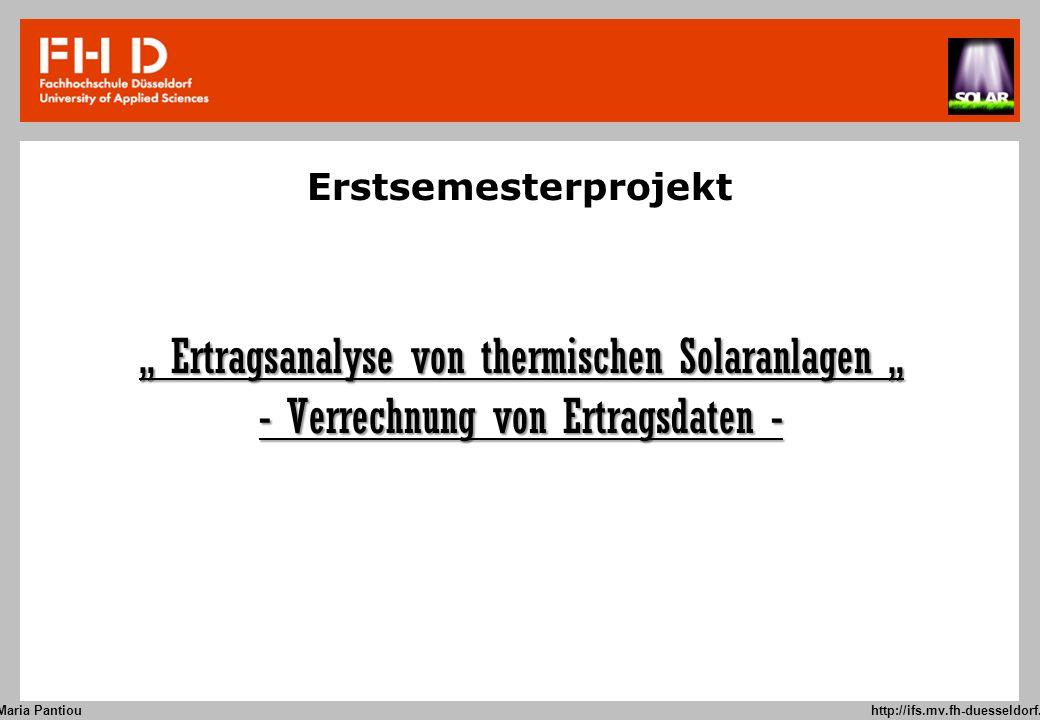 """"""" Ertragsanalyse von thermischen Solaranlagen """""""